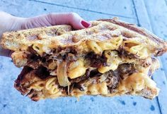 Meat Packing District: grilled cheese sandwich with brisket, horseradish cheddar, American cheese, caramelized onions, honey aioli sauce, AND mac n' cheese - toasted like a WAFFLE!