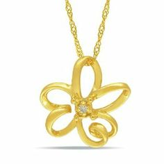 10k Yellow Gold 0.01 CT TDW Diamond Flower Pendant with Chain (G-H, I2-I3) Amour. $131.99
