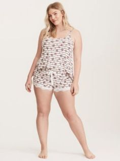 Sleep Floral Striped Print Lace Trim Shorts