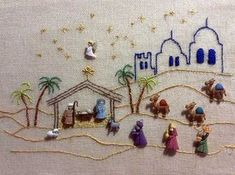 Ideas embroidery patterns love quilts for 2019 Christmas Nativity Scene, Christmas Deco, Christmas Cross, Christmas Projects, Holiday Crafts, Christmas Ornaments, Embroidery Patterns, Hand Embroidery, Nativity Crafts