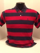 Polo Ralph Lauren Boys Short Sleeve Red/blue Striped Polo Shirt  Large(14-16)