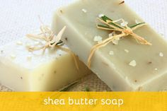 Shea Butter Soap Recipe. Shea butter has a lot of properties:  it is known to be a very rich emollient that prevents skin from drying out and carries large portions of Vitamins A and E, both of which are essential to the maintenance of healthy skin and hair. Furthermore, it has been discovered to contain triterpenes, which are known antibacterial and antiviral substances.