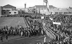 Benito Mussolini at the inauguration of Cinecittà film studio, Rome, Italy, 1937