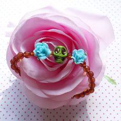 Halloween green skull with blue roses bracelet onlt $14.95 by WithLoveFromLiz