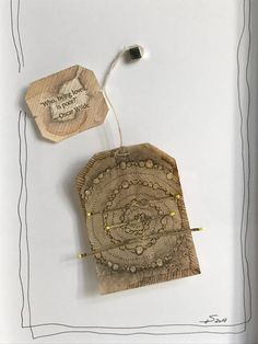 TeaDreams are Teabag-art. I draw and glue and stitch and sew on used teabags. So I work in things I find on walks through nature or through town. I put in emotions, feelings, dreams and vibrations. Bamboo, spiral and bubbles-you just dont need any more symbols! ;-) In order to let the