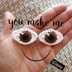Patroon basis oogjes – by Dayze Crochet Applique Patterns Free, Crochet Teddy Bear Pattern, Crochet Doll Pattern, Crochet Patterns Amigurumi, Crochet Motif, Crochet Eyes, Crochet Baby, Crochet Projects, Haken Baby