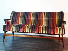 Danish sofa two places and a half in teak, typical of the 1950 Mid Century Living Room, Mid Century Sofa, Mid Century Style, Danish Sofa, Italian Furniture, Fabric Sofa, Living Room Sets, Danish Design, Scandinavian Style