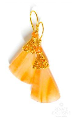 Big Tangerine Brazillian Agate Earrings