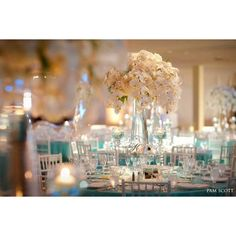Glamorous Tiffany blue wedding at the Hotel Del Coronado Reception... ❤ liked on Polyvore