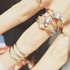acba6f731 ICONERY | Beautiful things go together well: Actress Rashida Jones in Luv  Aj ring stacks