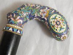 Silver Gilt Cloisonne Enamel Walking Cane Stick