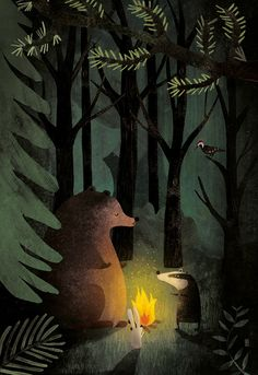 Woodland bonfire by Carmen Saldana Art And Illustration, Nature Illustrations, Angst Im Dunkeln, Doodle Drawing, Arte Peculiar, Arte Robot, Wow Art, Grafik Design, Whimsical Art