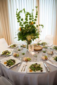 Wedding Table, Gray Linens, Sun Flowers