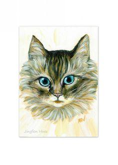 4x6 cat art print 5x7 art card ACEO Elegant Furry by JingfenHwu, $6.00