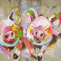 Steigerhout schilderij Cute Piggies, Oil Water, Animal Paintings, Diy Painting, Graffiti, Sculptures, Pigs, Illustration, Artwork