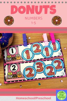 These Donuts Number Lessons are the perfect addition for Math Centers for homeschool/ preschool. This time saving, leveled resource is engaging with its vibrant pictures and stimulating content! Your multi-aged 2-3 year old children will enjoy learning about Donuts and numbers with these interactive lessons. Numbers Preschool, Preschool Math, Number Identification, Morning Activities, Number Activities, Time Saving, Number Sense, Math Centers, Donuts