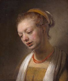 Rembrandt van Rijn, Young woman with a red necklace, oil on wood, from the Collection of Rita and Frits Markus Caravaggio, Fine Art Prints, Framed Prints, Canvas Prints, Leiden, Rembrandt Paintings, Rembrandt Art, Dutch Golden Age, Red Necklace