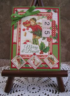 This Christmas card features fabulous papers from the Graphic 45 line, Twas the Night Before Christmas. Card is accented with cardstock
