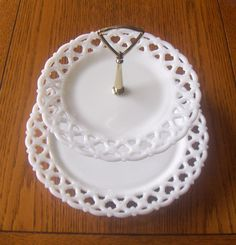 WESTMORELAND MILK GLASS ~ FORGET ME NOT ~ LACE EDGE 2-TIER TIDBIT TRAY ~ CUSTOM