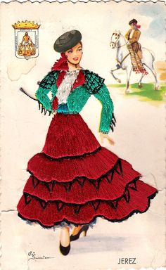 Vintage Spanish woman postcard.Embroidered by ParisBookandPaper