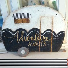 Retro camper cutout sign black and white by SweetLillyDoodles on Etsy https://www.etsy.com/listing/244252593/retro-camper-cutout-sign-black-and-white