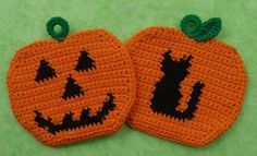 Halloween Pumpkin Potholders Crochet PATTERN Set  INSTANT