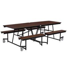National Public Seating Rectangular Cafeteria Table Size: 8', Frame Finish: Powder Coat, Tabletop Color: Banister Oak