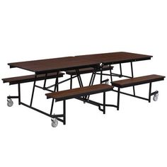 National Public Seating Rectangular Cafeteria Table Frame Finish: Chrome, Size: 8', Tabletop Color: Montana Walnut