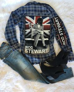 Forever Young   Vintage Rod Stewart Flannel by Two Gypsea Souls  BevJeans  Cut Out Bootie