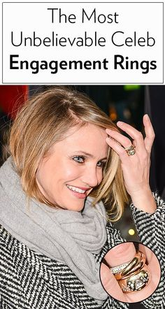 26 beautiful celebrity engagement rings, including Cameron Diaz's thick gold band with inlaid diamonds