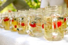 Mason jar drinks for guests. #discovercharlottetown #peiwedding #masonjars