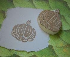 Garlic Rubber Stamp Hand Carved. $10.00, via Etsy.