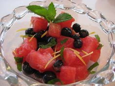 Week Watermelon-Blueberry Salad by Lexi's Kitchen Watermelon Blueberry Salad, Fruit Salad, What You Eat, Salads, Healthy Living, Deserts, Vegan, Kitchen, Recipes