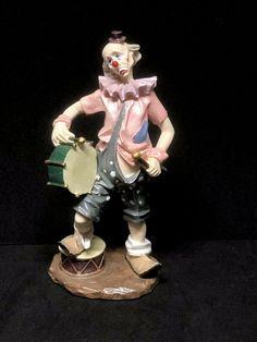 "Herco Gift Professional 7.5"" Sad CLOWN Figurine with Drums Pierrot Clown, Cayman Islands, Brunei, St Kitts, Grenada, Sri Lanka, Trinidad And Tobago, Croatia, Drums"