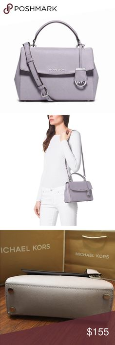 """😍TODAY ONLY! MICHAEL KORS Ava Small Lilac Satchel NO OFFERS, PRICE FIRM. Guaranteed Authentic! Michael Kors Ava small lilac satchel in saffiano leather. Silver tone hardware. Rolled top handle with 4"""" drop. Removable adjustable shoulder strap with 19-21"""" strap drop. Flap top with with magnetic snap closure. Snap sides. Interior MK fabric lining. 1 zipper pocket, and 1 slid pocket. Exterior back pocket with magnetic closure. Measurements: 9.75""""L x 7.5""""H x 4""""W. Item will be videotaped prior…"""