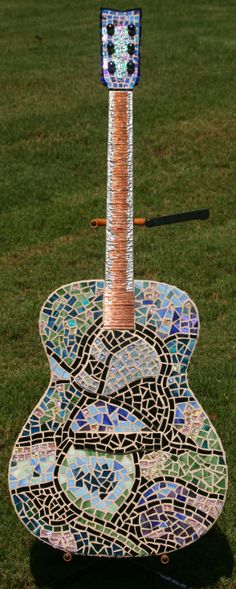 Mixed Media Mosaic on acoustic guitar  Holly Byram