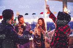 Group of friends at rooftop party royalty-free stock photo