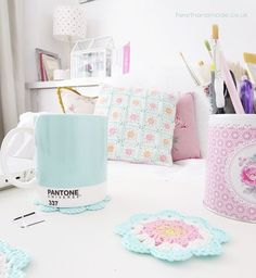 Mint pantone mug Bright & Colourful Free Crochet Patterns
