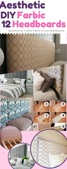 Sewing Fabric Storage 12 Aesthetic Headboards for Your Bedroom: DIY Fabric Headboards - tutorial for making headboards by yourself. Fabric headboard DIY with videos and step by step pictures for upholstered, tufted, and no sew fabric headboards Diy Fabric Headboard, How To Make Headboard, Headboard Ideas, Bedroom Ideas, Diy Bedroom, Bedroom Inspiration, Homemade Headboards, Headboards For Beds, Shabby Chic Bedrooms