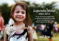 "Day 13 of 365! Yesterday (01/1315) should have been Gabrillia's 12 birthday. But cancer murdered her! She had one of the if not the deadliest Childhood Cancer called DIPG Brain Cancer. It has NO SURVIVAL RATE, and very very very few children with it live more than a year. It is ""terminal upon diagnoses"" Sweet G lived for 10 months. DIPG brings about such a painful death. You loose ALL physical ability, but your mind is still sharp and in tacked so you know everything that is happen to you!"