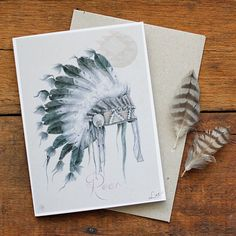 She is My Warrior - Native American Indian Tribal Design Card