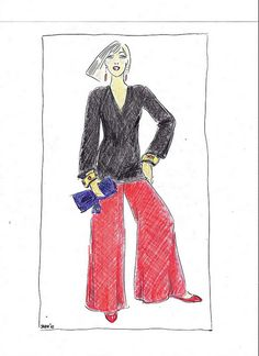 Holiday Style - Red pleated satin ballerinas.Large red charmeuse evening pants. Long Valentino black cashmere V-neck sweater. Purple minaudiere from Gucci. Gold cuffs with cabochon rubies. Diamond and coral (they're far enough away from the rubies that the combo works) teardrop earrings. Et voila. Simple.