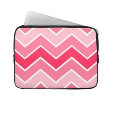 Unique, trendy and pretty laptop sleeve. Beautiful sweet soft pastel pink, summer melon red, and white geometric abstract zigzag stripes pattern. Zig zag design made for the fashionista and diva, the fashion trend setter, the vintage retro mod, abstract graphic or nouveau deco art motif lover. Cute and fun birthday present, or Christmas gift. Elegant, classy, and chic laptop sleeve for the girly girl or the sophisticated and professional business woman.