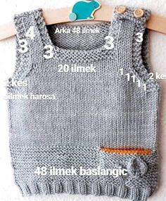 Best 12 (Notitle) - Mİnİklerİme Kazak T Crochet - Diy Crafts Knit Vest Pattern, Sweater Knitting Patterns, Knitting Designs, Baby Boy Knitting, Hand Knitting, Baby Girl Vest, Baby Boys, Pull Bebe, Baby Cardigan