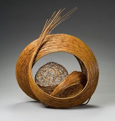 Basketry, Moden Yuchi, Artist, Spherical Dream, 2003,   bamboo (madake), rattan, and plastic monofilament, selected techniques: thousand line construction, irregular plaiting, H. 25 1/2 in x W. 20 3/4 in x D. 13 1/2 in., Photograph by Kaz Tsuruta
