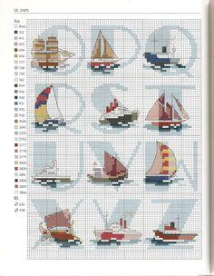 Alfabeto para punto de cruz con embarcaciones marinas.