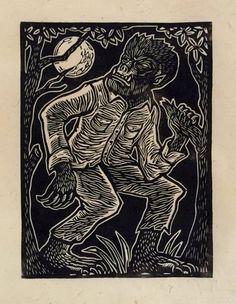 Brian Reedy ~ Wolfman ~ Woodcut, Rice Paper, 9 x 12 inch Lino Art, Graffiti, Matchbox Art, Scratchboard, Classic Monsters, Monster Art, Linocut Prints, Woodcut Art, Tampons