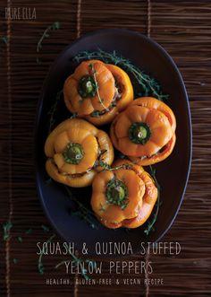 Pure Ella | Squash and Quinoa Stuffed Yellow Peppers : healthy, gluten-free and vegan recipe #glutenfree #vegan #thanksgiving