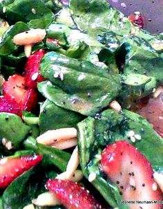 Strawberry & Spinach Salad - I didn't have white wine vinegar so I used red wine vinegar instead.