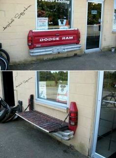Truck tailgate bench ..Except I would use a FORD! :D